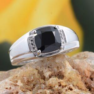 Thai Black Spinel Platinum Bond Brass Men's Ring
